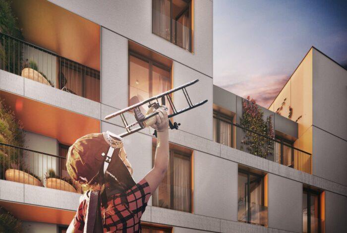 Pohled na moderní bytový dům z projektu Bleriot v pražských Kbelech