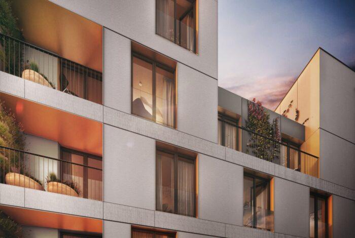 Detail moderního bytového domu z projektu Bleriot atelieru Flera
