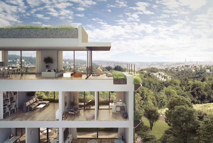 Řez bytovým domem, který je součástí projektu Sakura od zahradních architektů z atelieru Flera