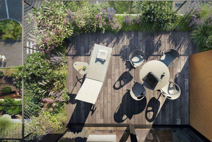Detail balkonu na bytovém domě Sakura, který je součástí projektu od zahradních architektů z atelieru Flera