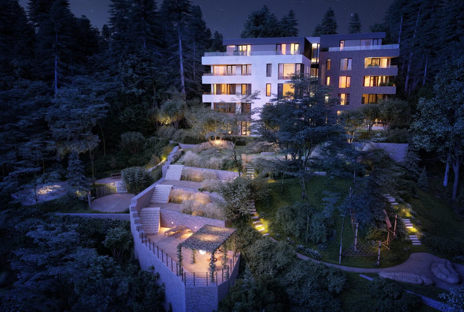 Noční pohled na projekt Barrandovské zahrady od Flera design - vítěze Best of Realty