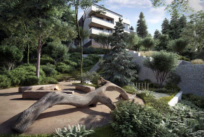 Detail vítězného projektu Best of Realty z dílny zahradních architektů Flera design